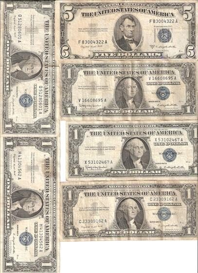3013: 1 $5 (1953) & 5 $1 (1957) Silver Certificates