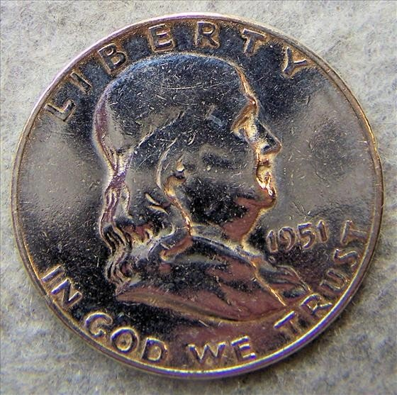 3014: 1951 S Franklin Half Dollar - Polished