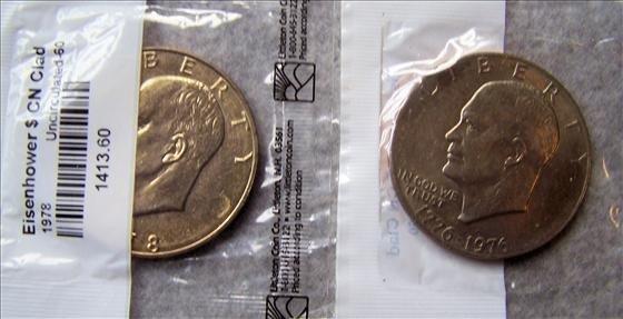 3017: 1978 & 1976 Eisenhower Dollars - CN Clad