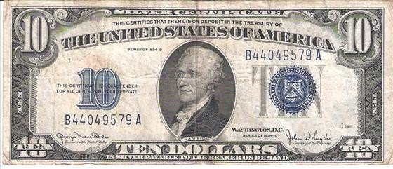 3018: 1934 D $10 Silver Certificate