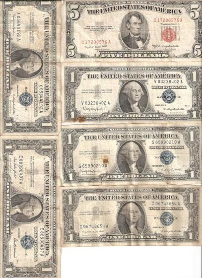 3022: 1 $5 (1953) & 5 $1 (1957) Silver Certificates