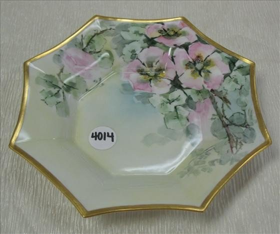 """4014: 1 Limoges France Floral Dish 9 3/8"""" diam"""