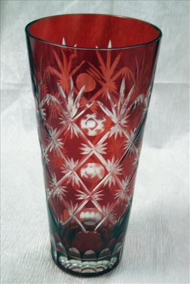 """4017: 1 Red Cut to Clear Vase 11 1/8"""" h"""