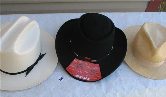 1307: 3 Cowboy Hats, woven - Stetson, Dobbs