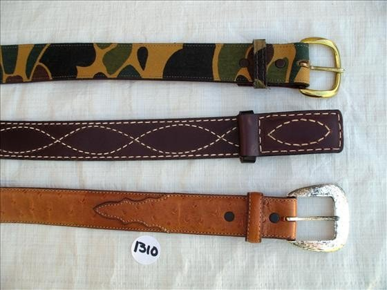 1310: 3 Belts, Leather & Camo