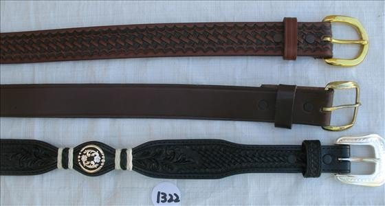 1322: 3 Leather Belts - Nocona, 3D, Mallory