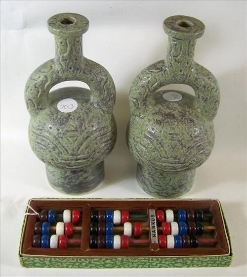 2013: 3 pc - 2 vases - Wood Hankus abacus