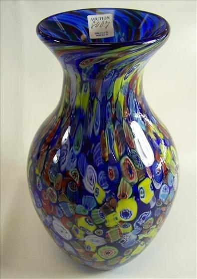 8007: Murano Glass -  Blue Millipore Vase