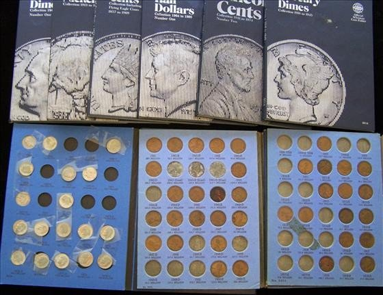 3015: 9 Whitman Coin Folders + some coins