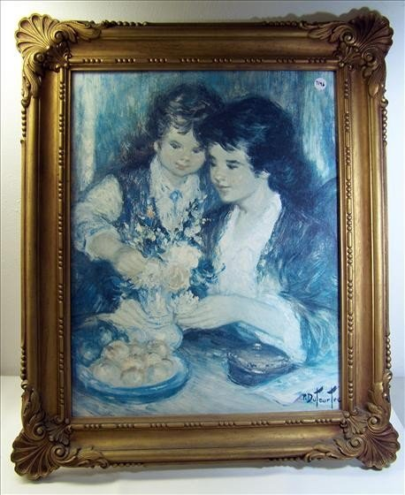 1118: Oil Painting of Mother and Daughter
