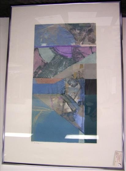 1493: Shadows Abstradct Pewter Frame