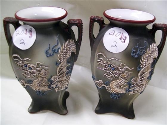 2013: Pair - Nippon dragon ware vases