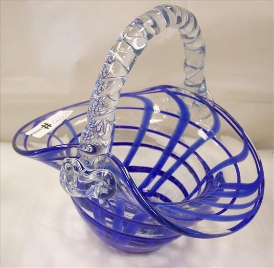 9003: Murano Blue Swirl w/Clear basket