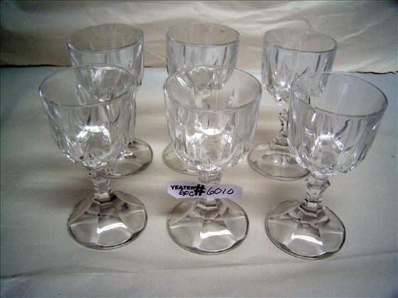 6010: Set of 6 Clear Crystal Cordial Glasses