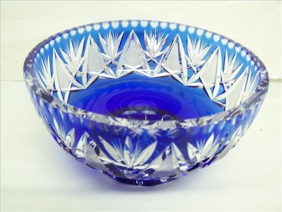 6024: Cobalt Blue Cut-to-Clear Crystal Bowl