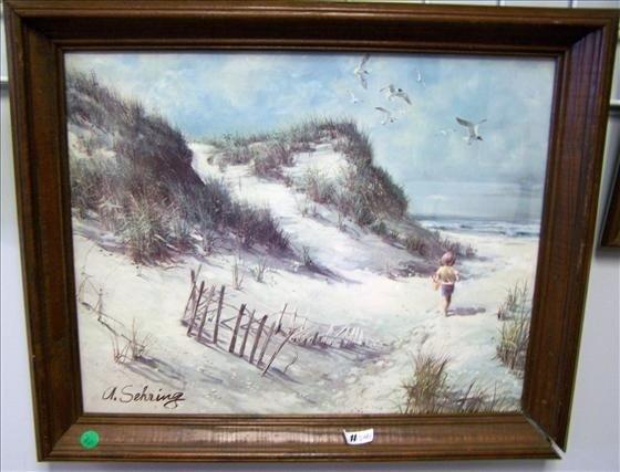 5001: A Sheering  print beach scene