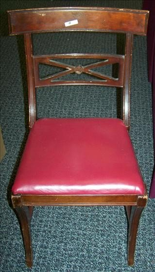 5018: 2 red leather dinning chairs