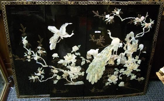 5024: 4 panel Chinese wall hanging