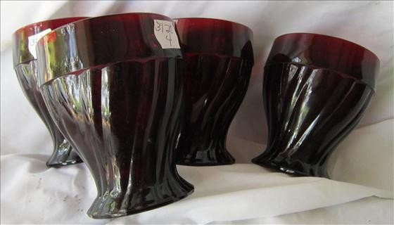 "3020: 4 ruby red swirl pattern glasses - 4"""