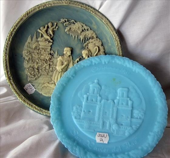 3021: 2 plates - Fenton blue satin