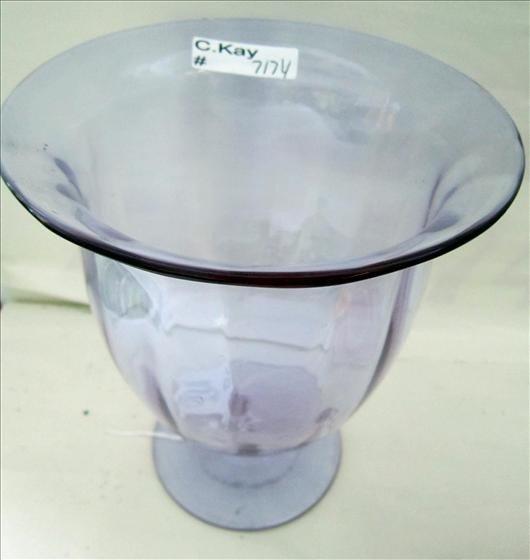 7174: Blue glass pedestal vase signed Moser