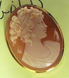 8133: Cameo pin/pendant marked 750