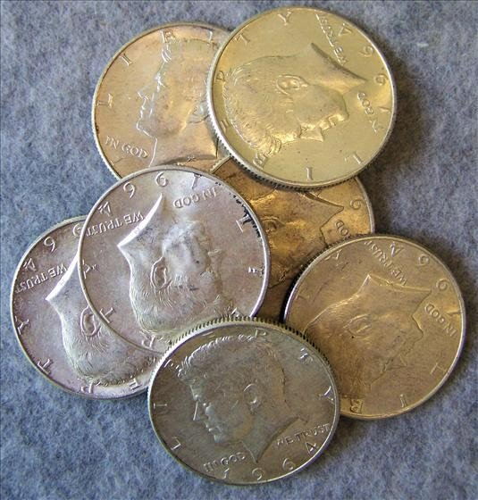 3006: 8 1964 Kennedy 90% Silver Halves