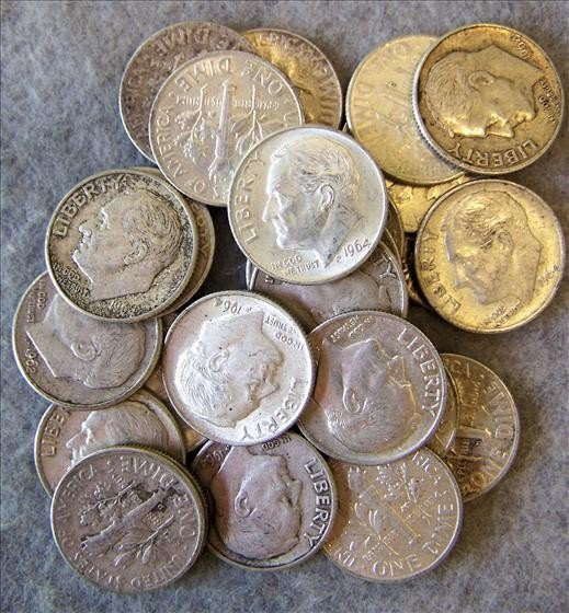 3014: 25 Roosevelt Silver Dimes