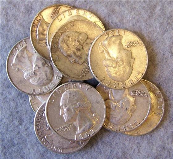 3015: 10 Silver Washington Quarters