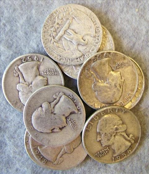 3017: 10 Silver Washington Quarters