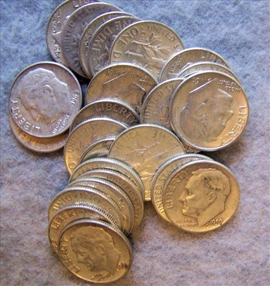 3022: 25 Roosevelt Silver Dimes