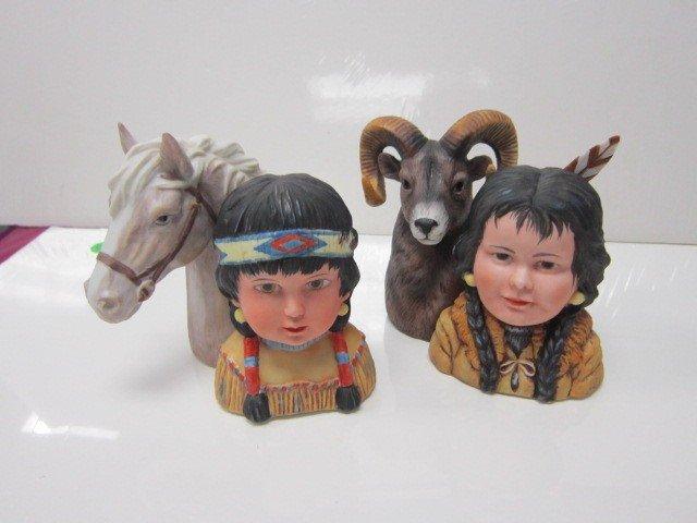 7015: 2 bisque figurines- Indians