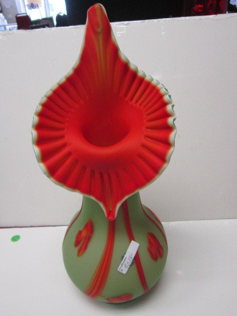 7018: Jack in the pulpit style satin glass vase