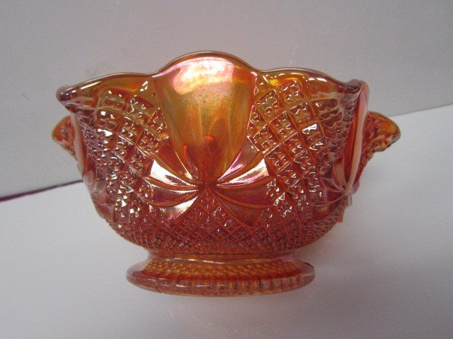 7024: Carnival glass fluted bowl