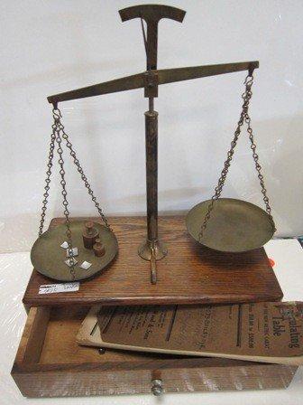 4015: Brass balance scale on wood box