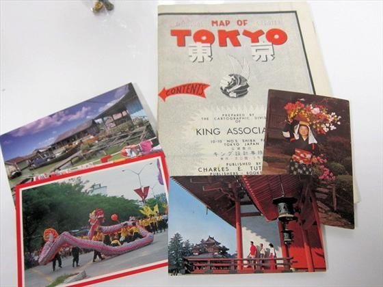 1722: Post cards and map of Tokyo