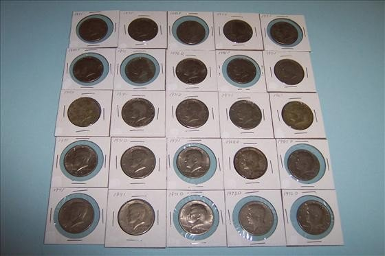 8012: Twenty Five Kennedy Half Dollars