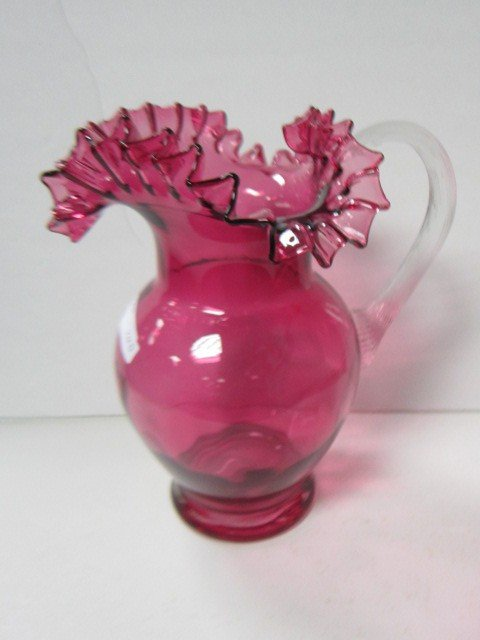 7010: Murano glass pitcher cranberry