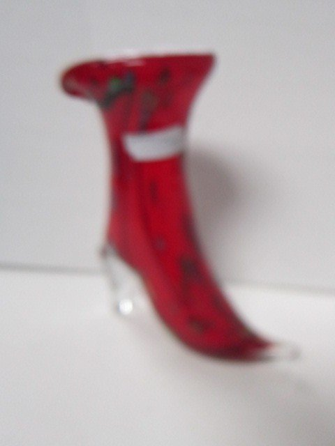 7017: Murano red glass boot clear heel