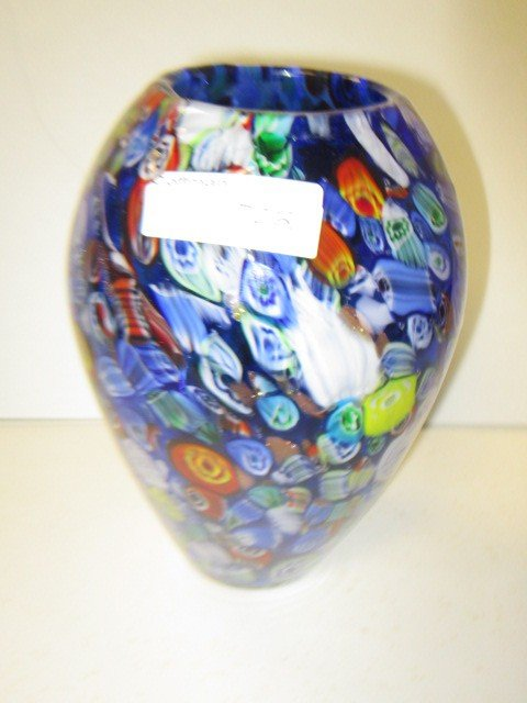 7021: Murano Milliefiori blue glass vase