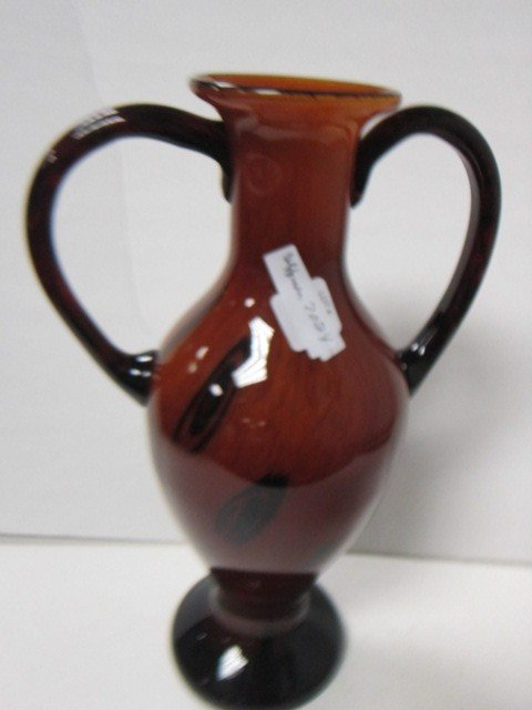 7024: Murano gold and brown vase
