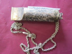 Sterling Silver Etched Whistle & Chain