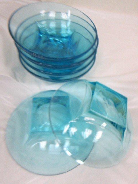9008: 6 aqua blue colony patter bowls