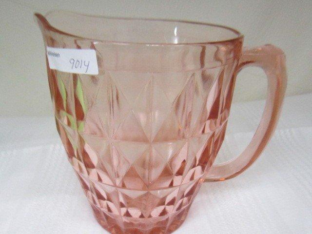 9014: Pink depression glass pitcher