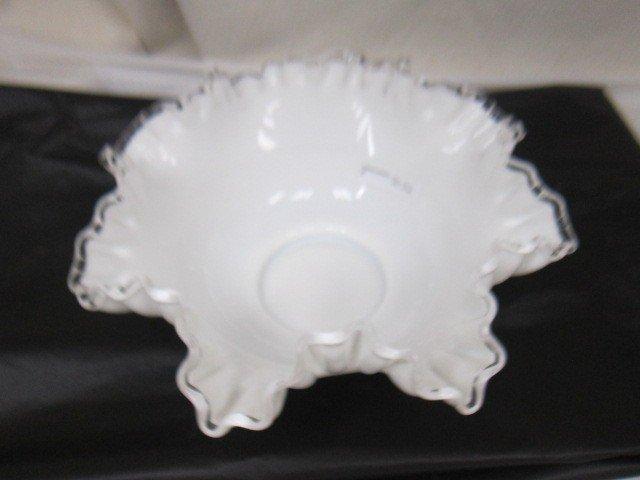 9022: Fenton white silver crest- bowl