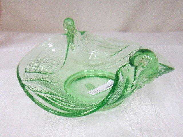 9023: Green Fenton Swan Console bowl