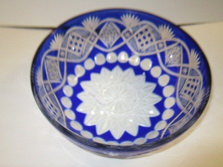 8001: Blue cut to clear crystal bowl