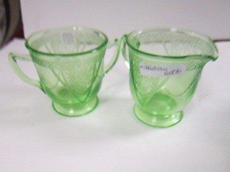 8006: Green depression glass cream & sugar