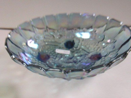 8007: Blue iridized footed oval fruit bowl