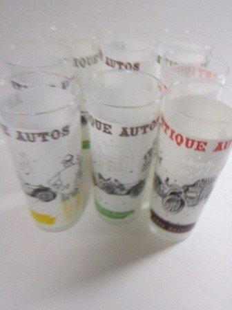 8008: 9 tall glasses Antique auto's